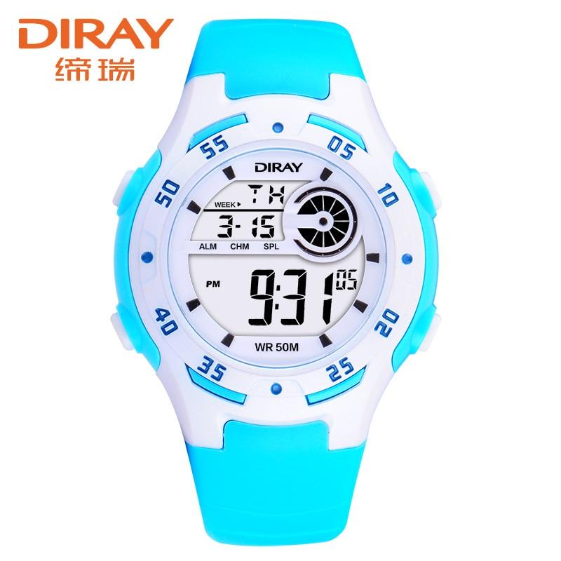 DIRAY Wrist Watch Children Waterproof Silicone Digital Watch Kids Fashion LED Sport Watch Students Watches Hour Clock Gift