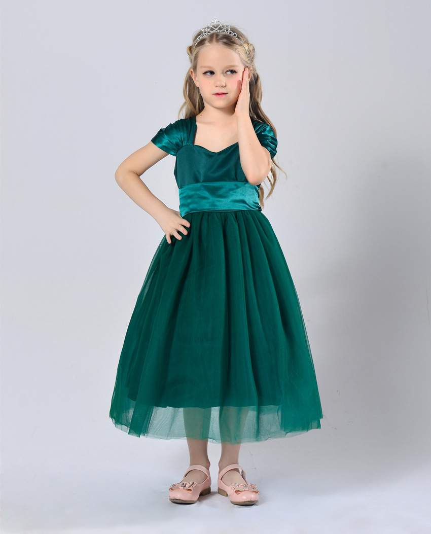 Girls Dress Summer 2017 Ball Gwon Girl Children Clothing Brand Clothes Solid Kids for Princess Party Wedding Toddler Dresses girl new party dress summer 2017 wedding tulle princess children ball clothing girls clothes toddler kids dresses size 6 7 8