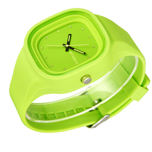 Señoras Square mujeres Automáticas Del Reloj colorido Del Cuarzo de Silicona resistente al agua deporte reloj de pulsera de calidad niña luminosa reloj de silicona