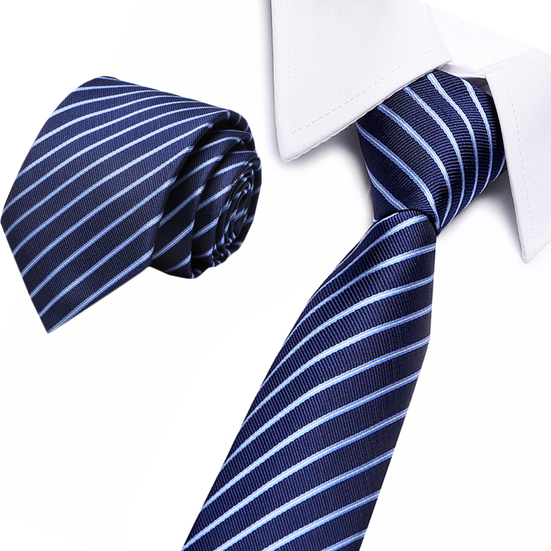 Vangise Brand Formal Business Men's Jacquard Neck Ties For Men Classic Stripe Polyester Necktie For Wedding Casual Mens Ties