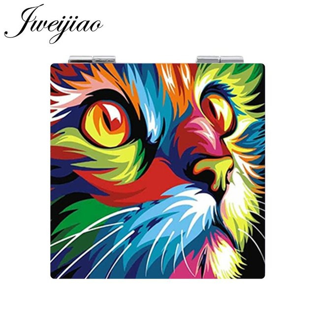 JWEIJIAO Painting Cat Pocket Mirror Cute Animal Picture Makeup Mirror Mini Folding Square 1X/2X Magnifying PU Leather