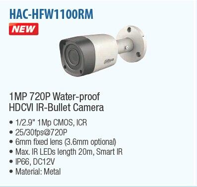 Free Shipping DAHUA CCTV Security Camera 1MP 720P Waterproof HDCVI Metal IR Bullet Camera without Logo HAC-HFW1100RM dahua waterproof power box without logo pfa140