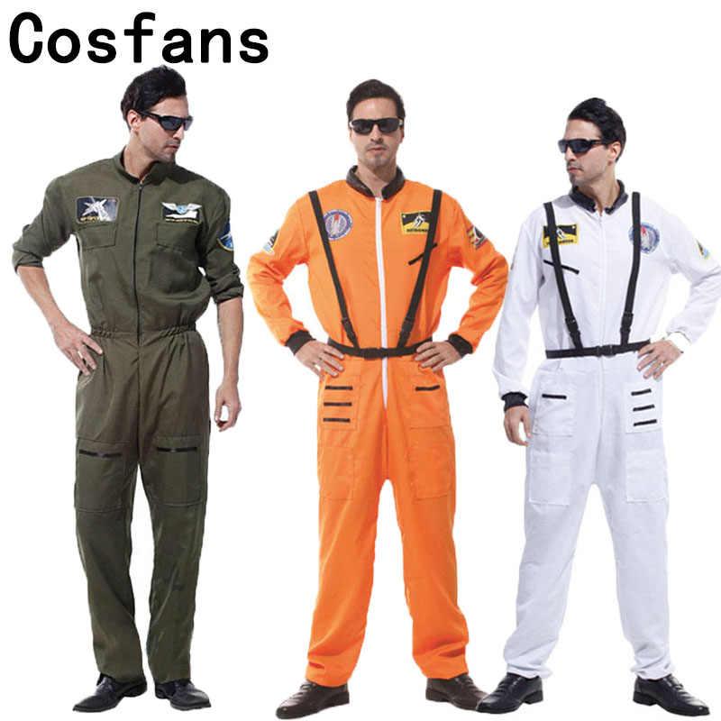 COSFANS ücretsiz kargo cadılar bayramı partisi astronot kostümleri yetişkin erkekler için kitap hafta turuncu beyaz uzay uçuş Polit tulum kıyafet