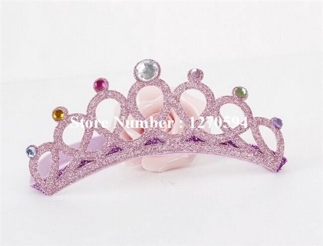 10 шт./лот корона для девочек повязка на голову, с блестками тиара на голову с украшением в виде кристаллов детский ободок для дня рождения; Мода для девочек; эластичная повязка на голову - Цвет: pink