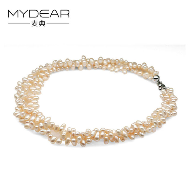 416974957 MYDEAR Pearl Jewelry Hot Sale Popular Rice Pink Freshwater Pearl Necklace  4.5mm Water Drop High Luster Pearl,Christmas Gifts
