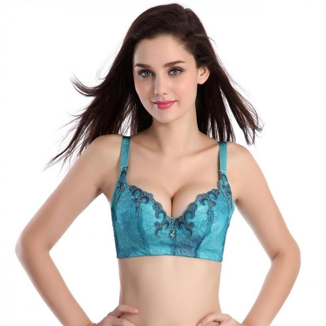Sexy Bras For Women Elegant Embroidery Solid Underwear 2017 New Arrivals Underwire 3/4 Cup Push Up Bralette Green,Pink Hot Sale