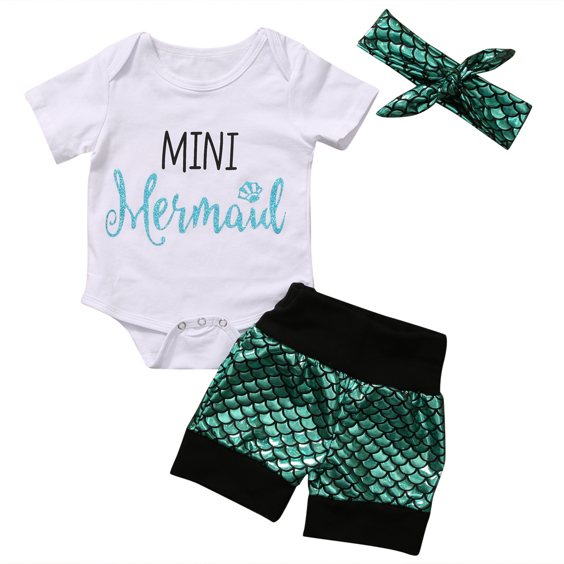 3PCS Mini Mermaid Newborn Baby Girl Clothes 2017 Summer Short Sleeve Cotton Romper Bodysuit+Sea-Maid Bottom Outfit Clothing Set 3pcs newborn baby girl clothes set long sleeve letter print cotton romper bodysuit floral long pant headband outfit bebek giyim