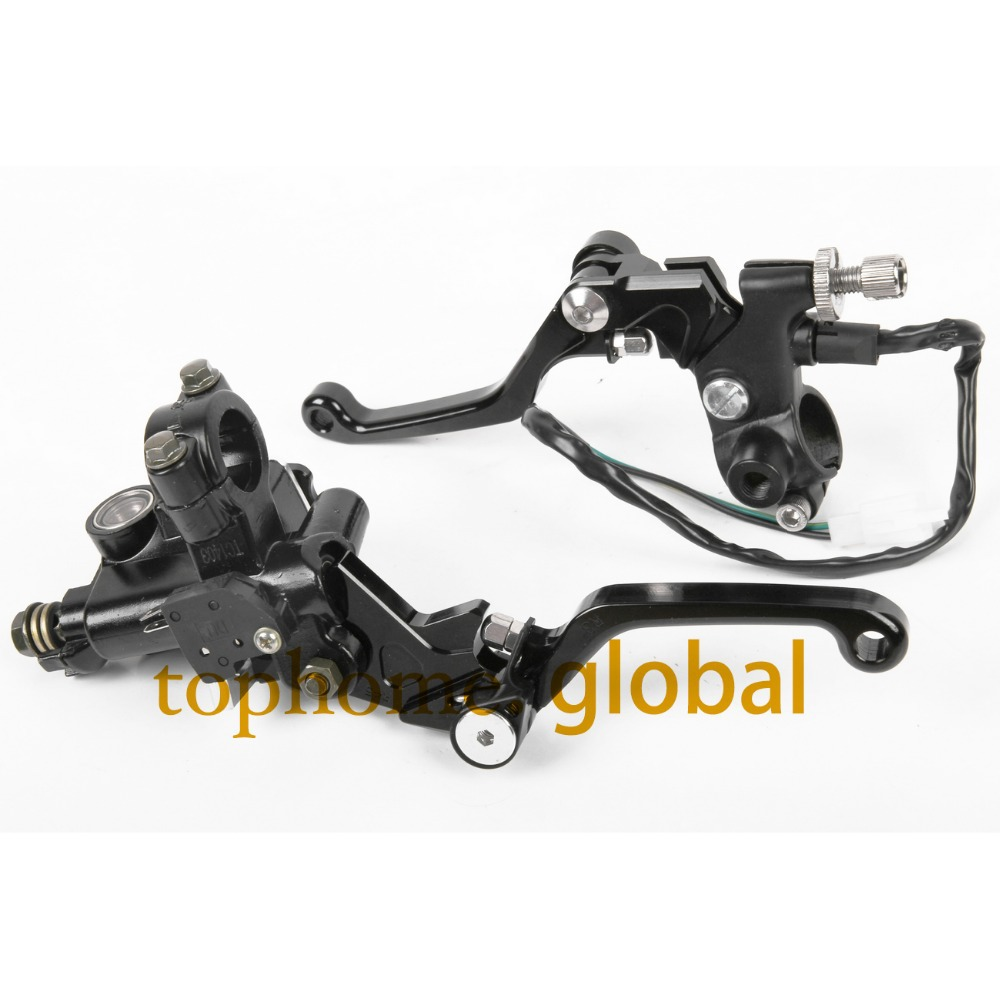 7/8 New CNC Brake Master Cylinder Pressure Switch Reservoir Levers Dirt Pit Bike Set For KAWASAKI KX85 2001-2007 2008 2009-2013 universal for kawasaki ninja 250r 1988 2012 cnc motocross off road clutch brake master cylinder reservoir levers dirt pit bike