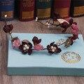 Rojo oscuro largo estilo hecho a mano de flores de perlas pelo de la boda accesorios decoración del pelo de la tiara de la boda de playa