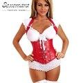 Tribunal de couro vermelho mulheres de slim sexy lingerie Bustier top corsets corpo corpete bustier corpo terno plus size arnês underbust