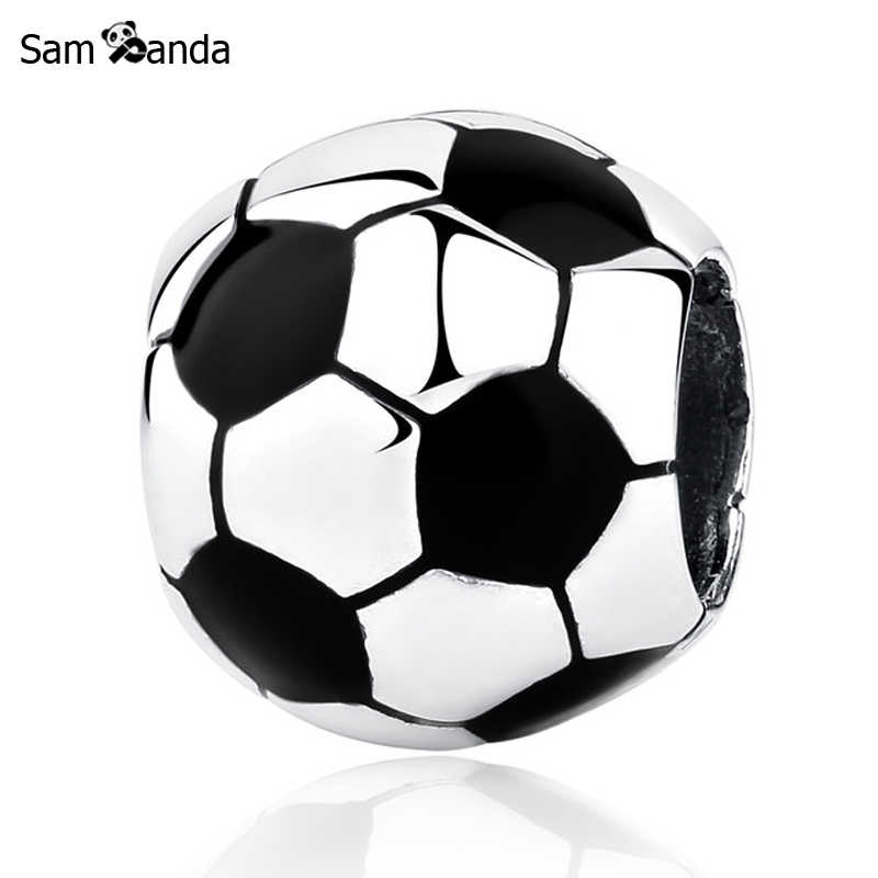 New Authentic 925 Sterling Silver Bead Charm Football Soccer Ball Glaze Charms Fit Pandora Bracelets Bangles Women DIY Jewelry
