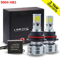 Free Shipping 2 Pieces 6000K Cool White COB LED Headlight Conversion Kit Hi/Lo 9004 (HB1) 12,800LM Pair 6,400LM Per Bulb