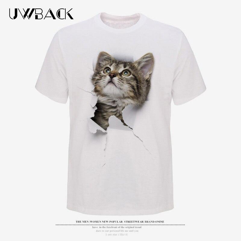 Uwback Drôle Chats T Chemises 2018 D'été 3D Imprimé Animal Hommes Tops T Plus La Taille 3XL Blanc Modal À Manches Courtes T Shirt Homme XA563