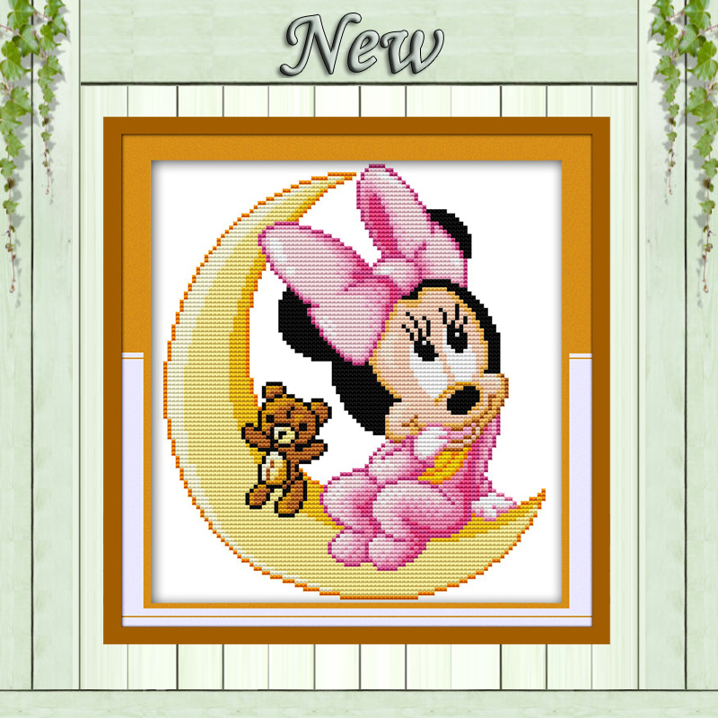 Minny moon mouse cartoon diy fairy painting counted printed on canvas needlework embroidery Sets DMC 11CT 14CT Cross Stitch kits