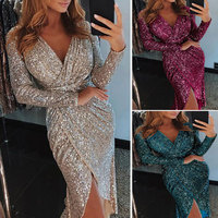 Women Banquet Gown Deep V Neck Long Sleeves High Waist Bodycon Shining Dress H9