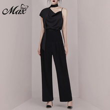 Max Spri 2019 New Fashion Women Asymmetrical Top With Tie Ruched Loose Pants Satin Stylish For Office Lady 2 Piece Sets Black