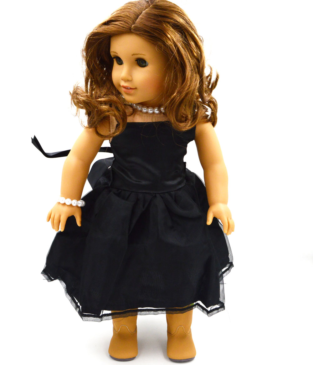 Wholesale New Black Doll Dress Handmade Doll Clothes Skirt -1452