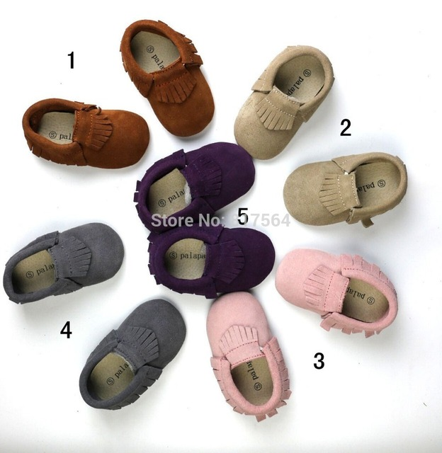 2017 new wholesale 10pairs/lot  cute suede genuine leather fringe baby moccasins soft sole shoes first walkers free shiping