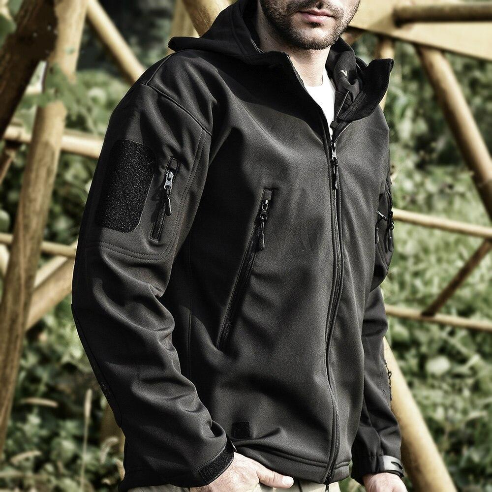 Veste tactique militaire Softshell pour hommes en plein air Camo imperméable à l'eau polaire à capuche BDU Camouflage randonnée vestes manteau de chasse