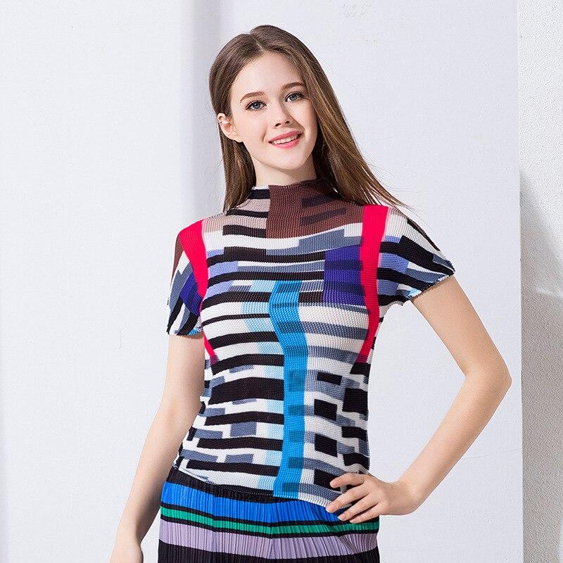 Arrugas verano nuevo estilo de alta cuello camiseta mujer manga corta miyake pliegues camiseta envío gratis