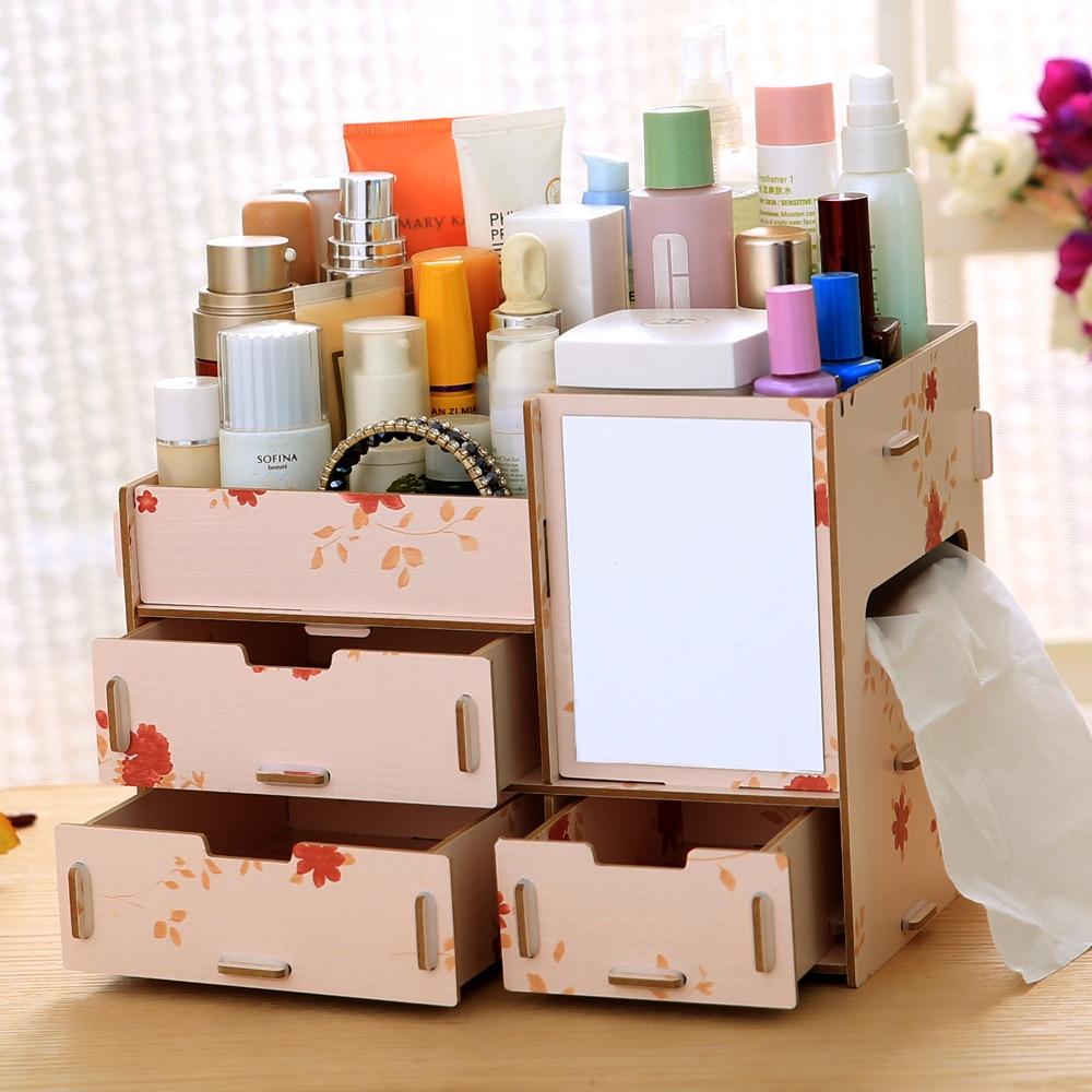 diy wood cosmetic organizer makeup storage box sundries. Black Bedroom Furniture Sets. Home Design Ideas
