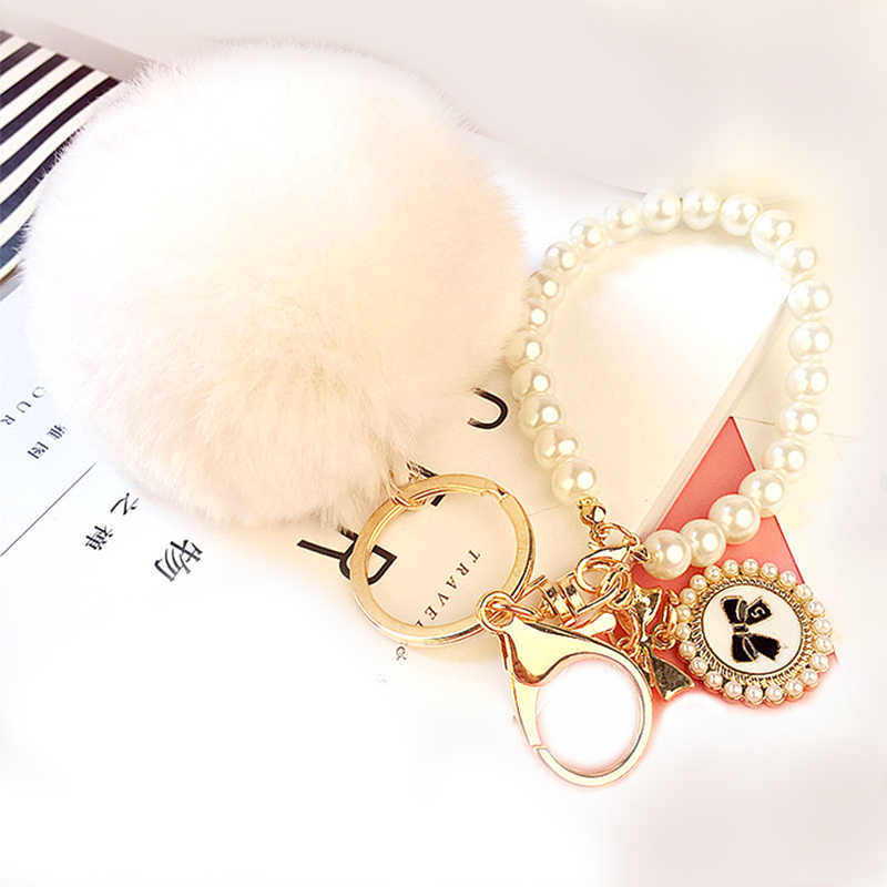 Lady Mulheres Hot New Popular Chrming Macio Fofo Bola Beads Pingente de Bolsa de Chaveiro Chaveiro Dom Pom