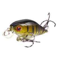 1Piece 40mm 4.6g Lifelike Artificial Minnow Wobbler Crankbait Fishing Bait Lures WIth 2 Treble Hooks Fish Tackle For Sea lifelike fish style fishing bait w treble hooks green golden