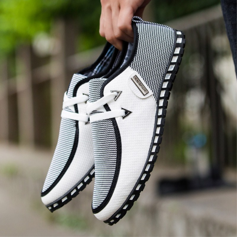 Lumière Noir Hommes Mode pu blanc Offre 2019 Printemps Sauvage Casual Tendance Conduite Chaussures Ciel vert Simples Lacets Fond Respirant Nouveau Spéciale Plat À xUqwOnYd