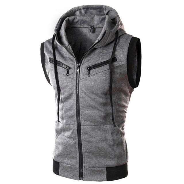 Men Male New Arrival Hooded Pockets Vest Sleeveless Waistcoats Wine Red/Gray/Dark Grey M/L/XL/XXL/XXXL 22