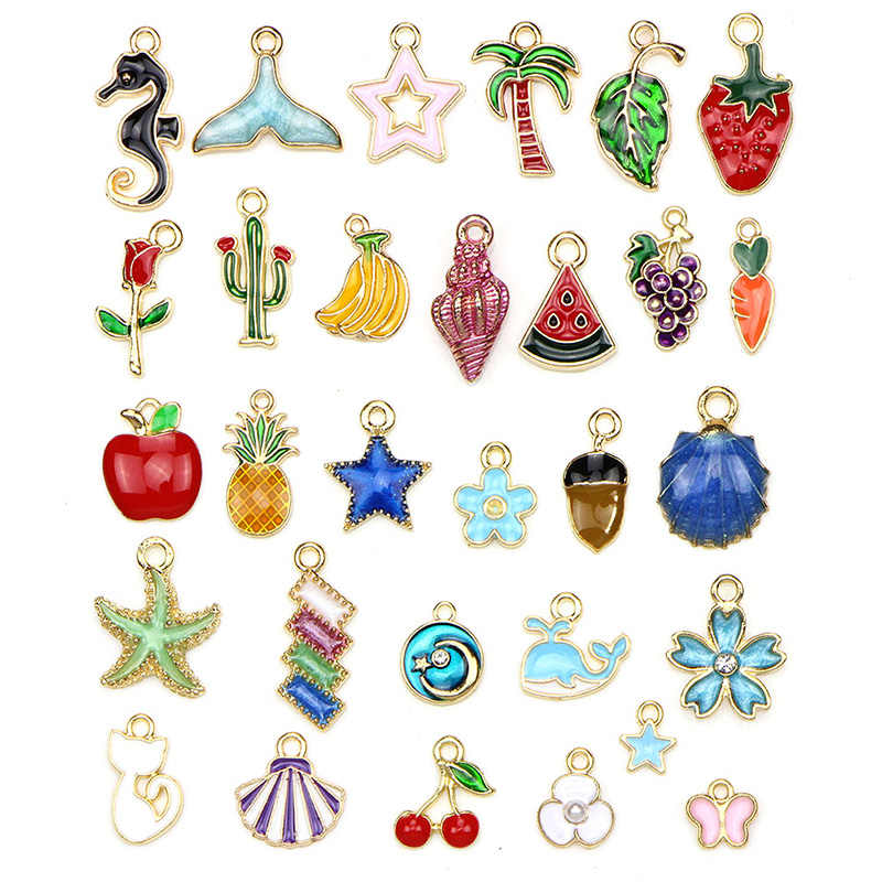 Mode 30Pcs Mix Metalen Emaille Charmes Voor Oorbel Charme En Hangers Dangle Diverse Gemengde Lot Sieraden Maken