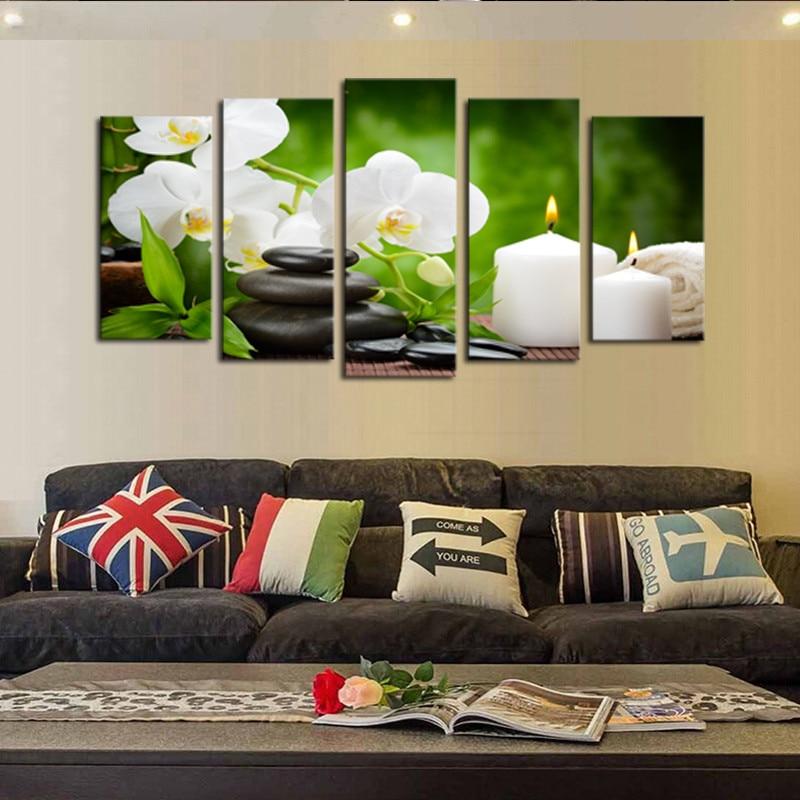 Okvir 5 ploča slika uljem platna bijeli svijeća cvjetni modularni - Kućni dekor - Foto 2