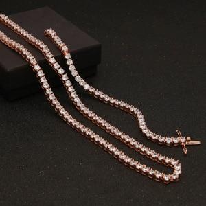 Image 4 - Uwin 1 linha rosa ouro zircão tênis correntes pulseira cor de ouro cobre iced para fora cz corrente hip hop jóias presente transporte da gota