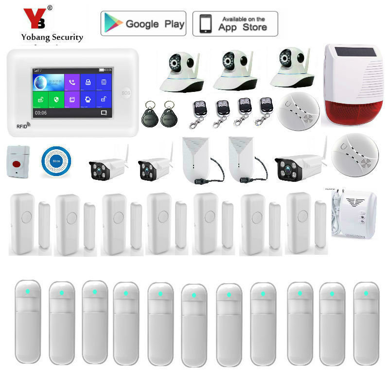 Yobang Security 4.3 Inch Touch Scree Video IP Camera Wifi 3G WCDMA Home Security Alarm System Compatible With Alexa APP Control