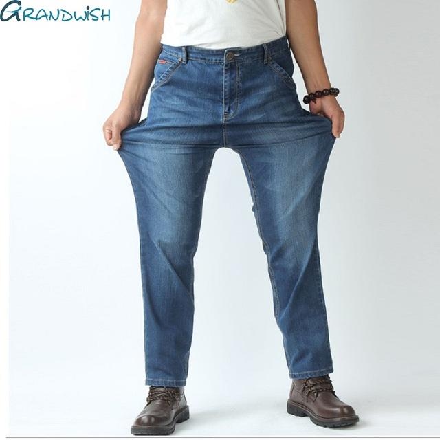 Grandwish Vaqueros de Los Hombres Pantalones de Hombre de Gran Tamaño Denim Jeans Pantalones vendimia Más El Tamaño 48 Pantalones Vaqueros Holgados para Los Hombres Rectos, PA807