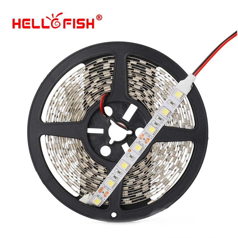 LED-stripe 12V IP65 Vanntett IP20 LED fleksibel lys LED-tapebelyst lys 5M 300 ledd spenne DC12V hvit / varm hvit