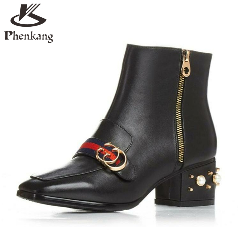 ФОТО Genuine leather Women rivet boot 2016 new winter British female square head women's shoes black red Martin boots for women US 8