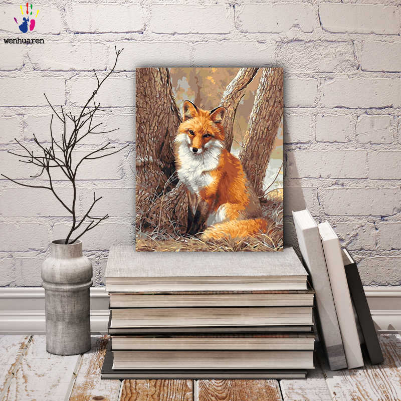 DIY colorings pictures by numbers with colors The fox and the cat painting drawing painting by numbers framed Home