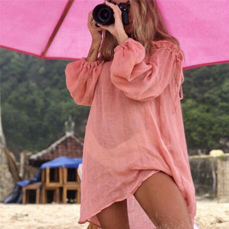 Women's Off Shoulder Bikini Cover Up Soild Color Long Sleeves New Sexy Beach Wear Loose Summer Sunscreen Covers Up Hot Selling