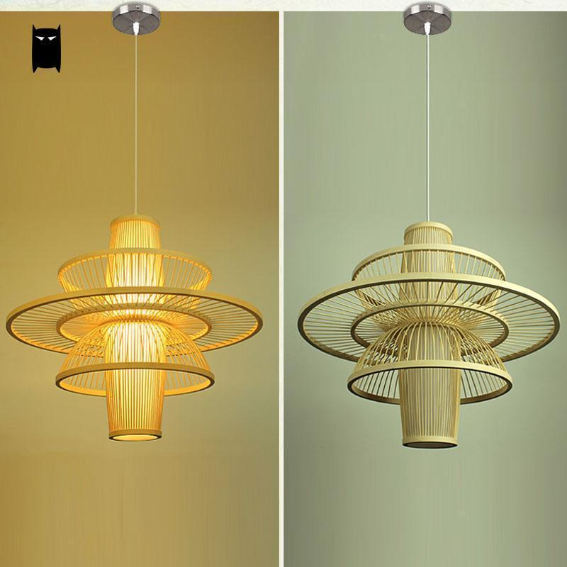Bamboo Wicker Rattan R Lampshade Pendant Light Fixture Asian Japanese Art Deco Hanging Ceiling Lamp Plafon Re Design In Lights From