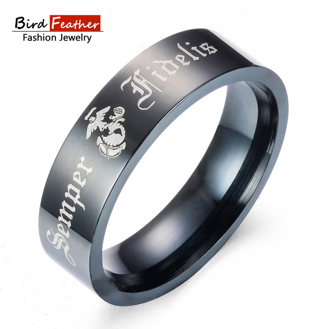 Bird Feather Stainless Steel Men Rings Army Marine Corps Rings for