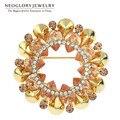 Spyderco neoglory rhinestone da flor do casamento de noiva broches broches jóias para as mulheres 2017 novo