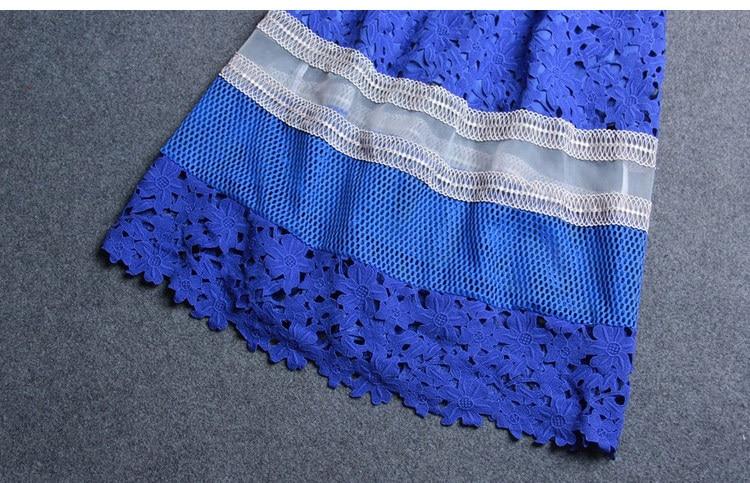 Платье Self Portrait женская одежда плюс размер платье-футболка сетки лоскутное синий крючком платье с коротким рукавом сексуальные прозрачные платья
