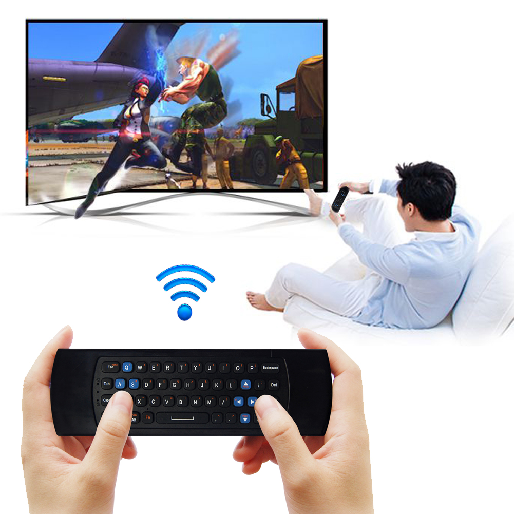 2.4G RF USB2.0 Wireless Mini Keyboard Gyroscope Fly Air Mouse Remote Controller for Mini PC Android TV Box original t2 air mouse 2 4g wireless mini keyboard 3d sense motion remote controller t2 air mouse for android smart tv box pc