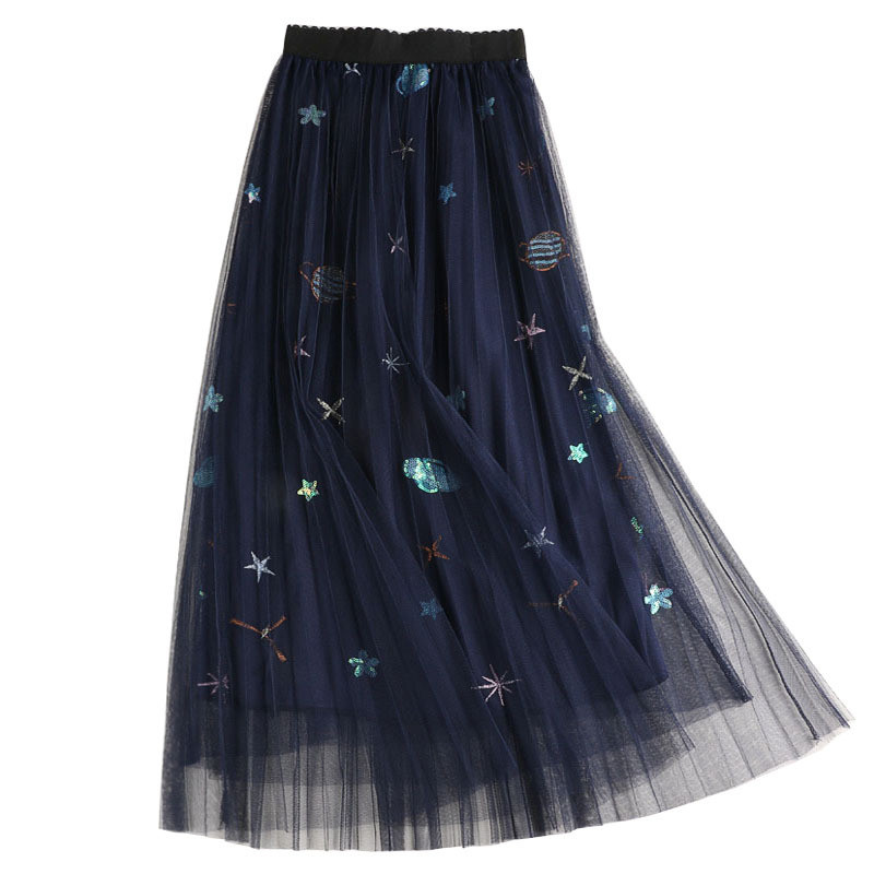 NORMOV Sweet Embroidered Pleated Tulle Skirt Women Summer A Line Long Skirts High Waist Sequined Planets Mesh Maxi Skirts