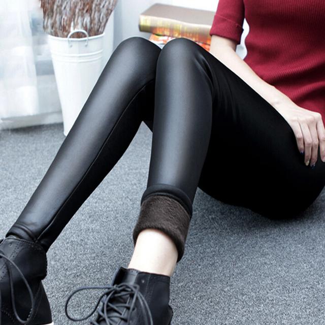 Moda Mujer Pantalones de Invierno Cálido Medias Lápiz Pantalones Elásticos Femeninos de Cuero Inferior Más pantalones de Las Mujeres