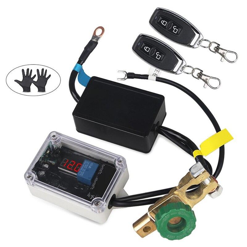 Universel 12 v voiture batterie maître interrupteur isolateur interrupteur de coupure de courant voltmètre affichage avec gants + 2 pièces télécommande