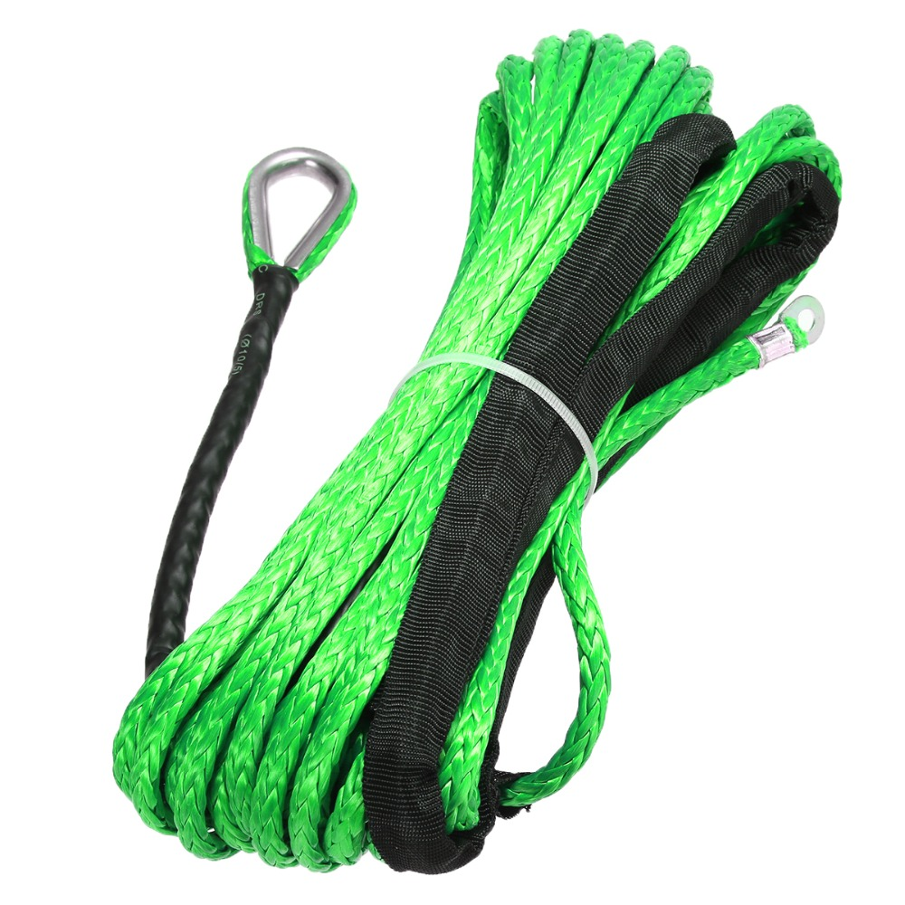 Image 3 - 15M 5500lbs High Strength Green Synthetic Winch Rope Cable Line with Hook Towing Ropes For ATV UTV Off Road-in Towing Ropes from Automobiles & Motorcycles