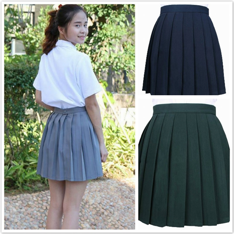 Spring Harajuku Skirts Women High Waist Ball Pleated Skirts Solid Color Sailor Skirt Japanese School Uniform Bigsweety