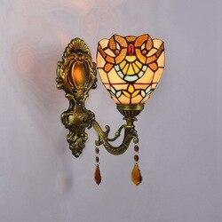 Tiffany barokowy vintage witraż żelaza lampa ścienna-syrena oświetlenie wewnętrzne lampki nocne kinkiety do domu AC 110 V/220 V E27
