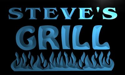 x0074-tm Steves Grill Bar Custom Personalized Name Neon Sign Wholesale Dropshipping On/Off Switch 7 Colors DHL